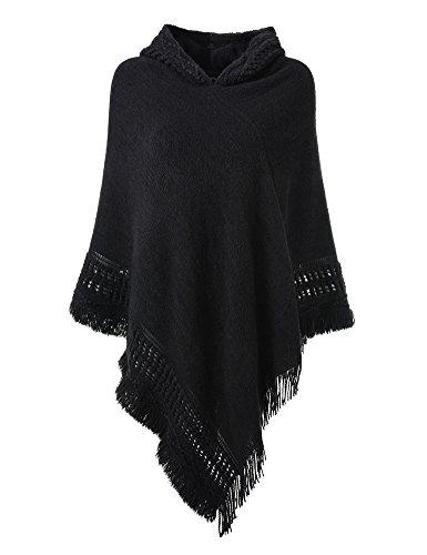 Ferand Damen Kapuzen Poncho mit Häkelborde, Cape für Frauen aus Strickmaterial mit Zierfransen, Schwarz