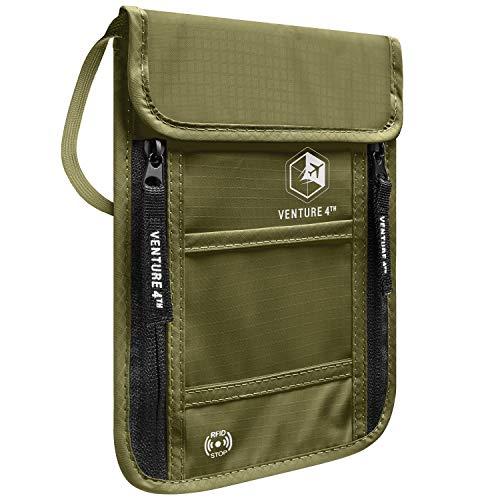 VENTURE 4TH Passport Holder Neck Wallet with RFID Blocking - Hidden Neck Pouch (Army Green)