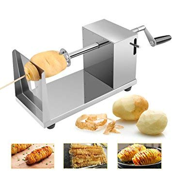UNIQUE ICON Stainless Steel Potato Slicer Cutter Machine Twister Curly Spiral French Fry Tornado