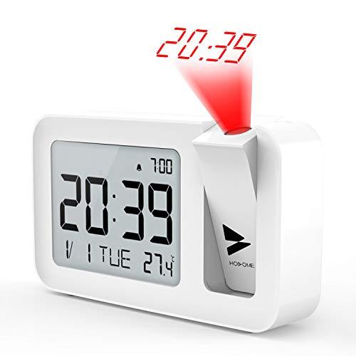 Hosome Sveglia con Proiettore, Alarm Clock Digitale con Temperatura Interna, 4 Luminosità di...