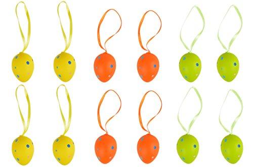 * 12 kleine Deko-Eier bunt gepunktet mit Schleifchen   Grün Gelb Orange   Oster-Eier Oster-Deko   Höhe: ca. 4 cm