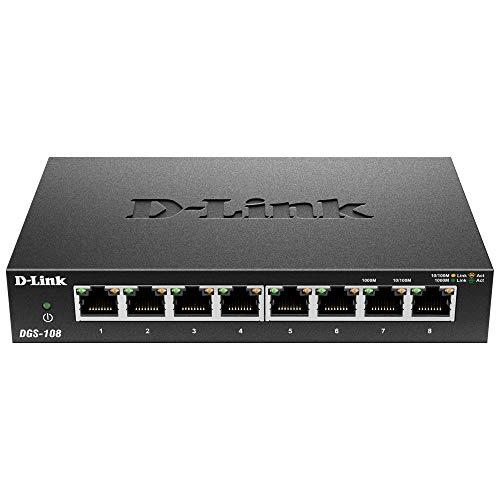 D-Link DGS-108 Switch 8 Porte Gigabit, Struttura in Metallo, Nero/Antracite
