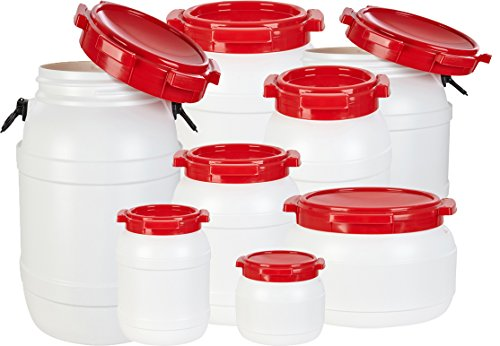 noorsk Weithalstonnen in verschiedenen Größen/Luft- und Wasserdichte Transportbehälter Weiß/Rot 3.6 L