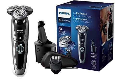 Philips S9711/32 Series 9000 Rasoio Elettrico, Wet & Dry con Lame di Precisione, Regolabarba e Sistema di Pulizia SmartClean, Testine ContourDetect a 8 direzioni