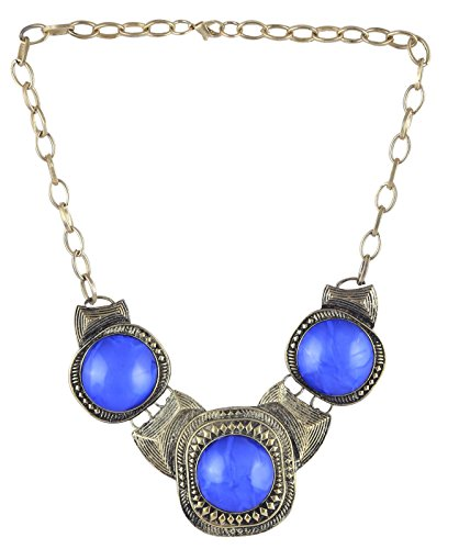 Arittra Alloy Tribal Design Blue Silver choker Necklace in Antique Finish for Girls and Women brassTribalhandicraftResin Design Silver Multi colour,ethnictraditionaltribalantiqueDesignerfashionstyleNecklaceChokerchainpendant Set with matching earrings for womengirls-Valentine gift,todays,deal,party,casual,discount,offer,sale,clearance,lightning,festival,fashion,wedding,summer