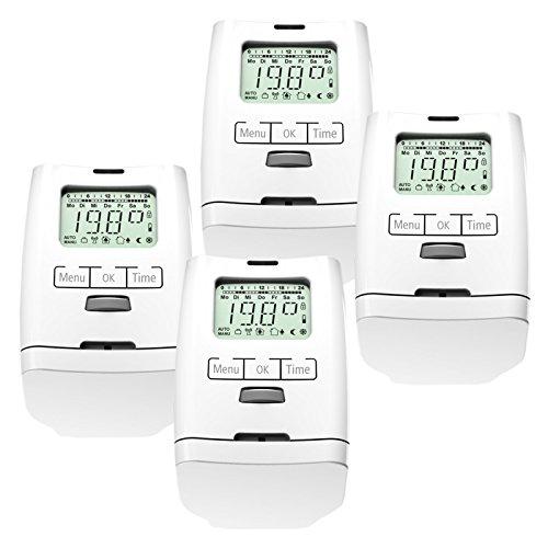 Set de 4 thermostat programmable pour chauffage modèle silencieux hT 2000 fabriqué en allemagne-set de 4 pièces premium version avec écrou métallique solide