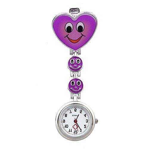 ShopyStore Purple Relogio Heart Shape Quartz Movement Nurse Brooch Fob Tunic Pocket Watch Fashion