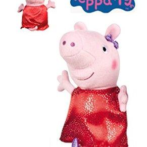 Peppa Pig - Peluche Peppa con Vestido Rojo y Plata 20cm - Calidad Super Soft
