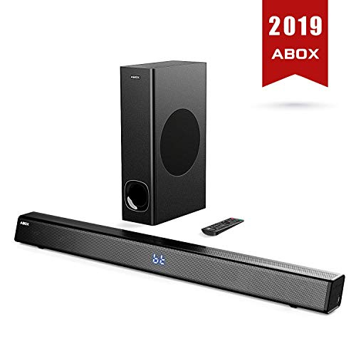 SoundBar con Subwoofer, ABOX Sound Bar per TV, 120W, Home Cinema Suono Surround, Bluetooth 4.2,...