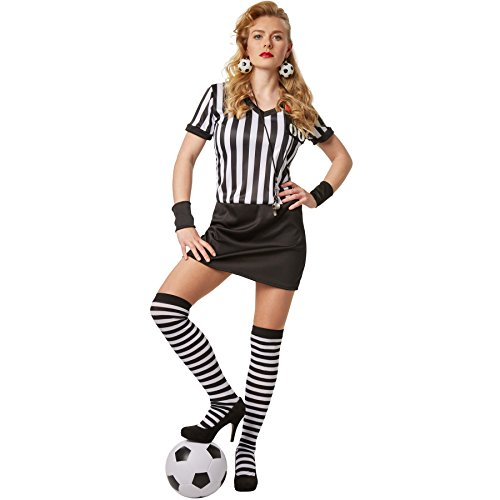 dressforfun Disfraz para mujer Árbitro | Vestido Stretch con muñequeras negras y medias hasta las rodillas (XXL | no. 301803)