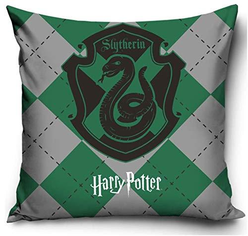 Harry Potter - Federa per Cuscino, 40 x 40 cm, Poliestere, Stemma Verde, 40 x 40 cm