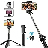 Babacom Selfie Stick Stativ Verstellbare Selfie-Stange Stab mit Bluetooth-Fernauslöser Kompaktes Monopod (schwarz)