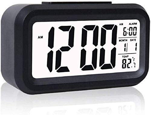 Inside CollectionTM Digital Smart Backlight Battery Operated Alarm Table Clock with Automatic Sensor, Date & Temperature (Black)