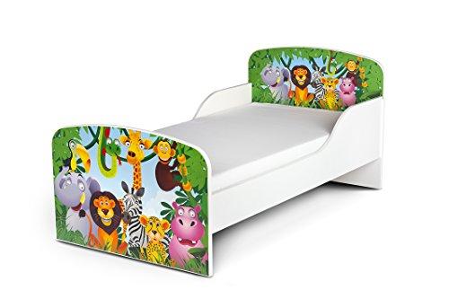 Letto Lettino Per Bambini In Legno e Materasso Magnifiche Stampe Mobili Per Bambini Attrezzatura...