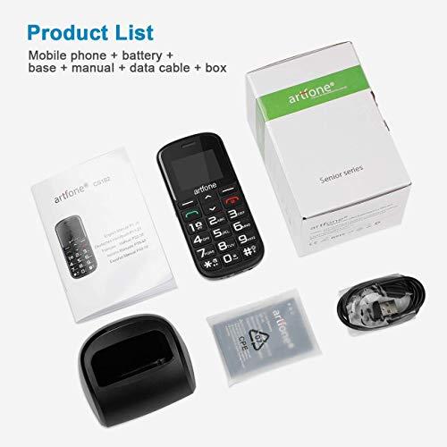 Artfone GSM téléphone Senior Portable Débloqué avec Grandes Touches, Bouton SOS, 1400mAh Batterie 10