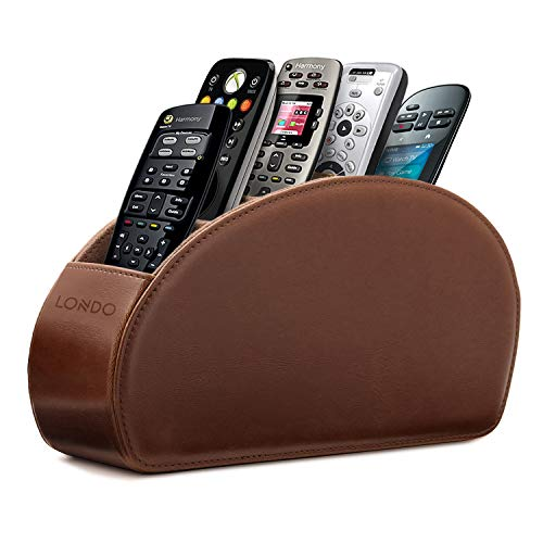 Londo Porta Telecomandi con 5 scomparti - Per contenere telecomandi di TV, stereo, decoder, DVD, Blu-Ray - in Ecopelle con fodera interna in suede. Adatto per salotto o camera da letto - Marrone Scuro