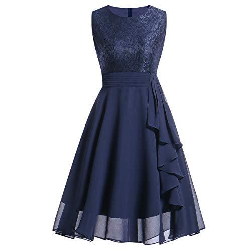 Kinlene Vestido de Mujer - Vestido de Fiesta de Noche Casual Swing Dress Elegantes de Noche Vestido Encaje sin Mangas Floral de la Vendimia de Las Mujeres (Azul, XL)