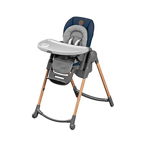 Bébé Confort Minla Seggiolone Pappa, 6 funzioni in 1, 9 Misure Diverse, Reclinabile con cuscino riduttore, sdraietta, sgabello e rialza sedia, per bambini 0-7 anni, colore Essential Blue