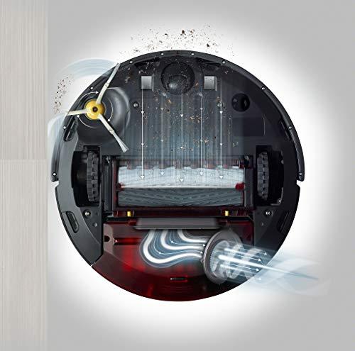 41RqqDTzRBL [Bon Plan Neato] iRobot Roomba 960, aspirateur robot avec forte puissance d'aspiration, 2 brosses anti-emmêlement, idéal pour animaux, capteurs de poussière, parfait sur tapis et sols, connecté, programmable via app