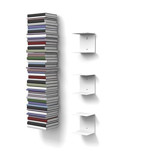 home3000 - 3 Mensole libreria, invisibili, colore: Bianco, con 6 scomparti, altezza:fino a 150 cm,...