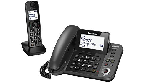 Panasonic Corded + Cordless DECT TGF38 Nuisance Call Block Combo Telephone Kit, Answering Machine with Talking Caller ID, 220V