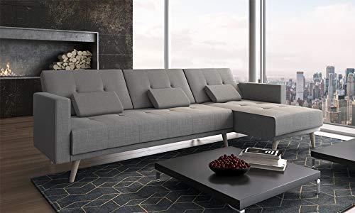 Divano convertibile ad angolo Verona, 267 cm, convertibile in letto, reversibile, grigio chiaro