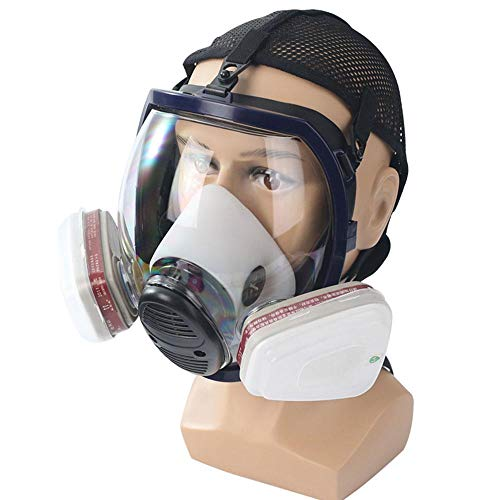 Full Face Organic Vapor Respirator, Chemical Gas Mask with Visor Protection, Filter Cotton, Professional Safety Respirator for Paint, Dust, Polish