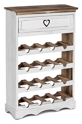 ts-ideen Cantinetta Portabottiglie in legno Bianco e Noce effetto Consumato per 16 bottiglie...