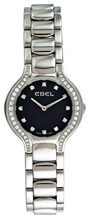 Ebel Beluga Mini Stainless Steel & Diamond Womens Watch Black Striped Dial 1215867 9003N18/391050