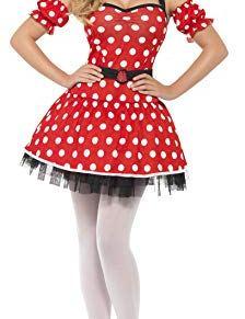 Smiffy'S 29609S Disfraz Madame Ratón Sexy Con Vestido, Muñequeras Y Diadema De Orejas De Ratón, Rojo, S - Eu Tamaño 36-38