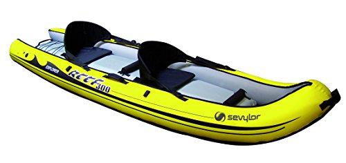 Sevylor Reef 300 Kayak hinchable, kayak de mar 2 personas, piragua hinchable, canoa inflable, amarillo negro, 296 x 84 cm