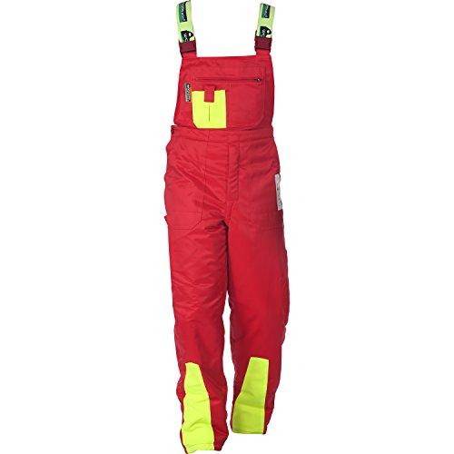 WOODSafe® Schnittschutzhose Klasse 1, kwf-geprüfte Forsthose, Latzhose rot/gelb, Herren - Waldarbeiterhose Größe 50