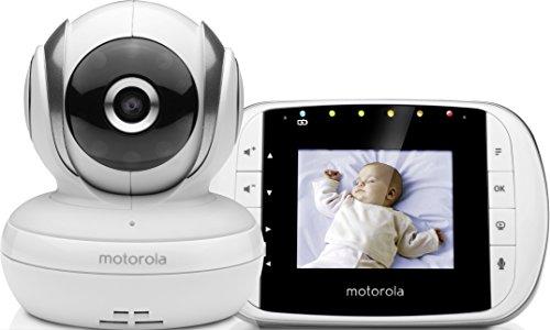 Motorola MBP 33S - Baby monitor video digitale con schermo LCD a colori da 2.8', modo eco e visione notturna, bianco