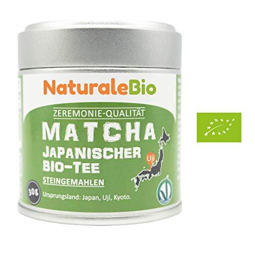 Matcha-Tee-Pulver-Bio [ Ceremonial Grade ] Original Green Tea aus Japan   Grüntee-Pulver Matcha Zeremonie-Qualität, hergestellt in Uji, Kyoto   Ideal zum Trinken, Kochen und in der Latte   30g Dose.