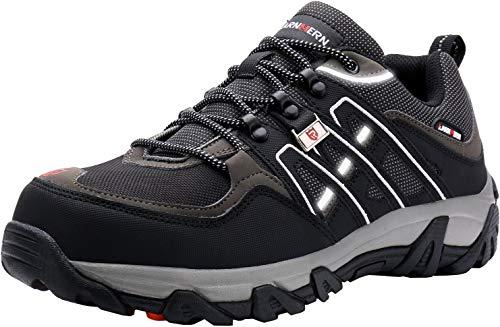 LARNMERN Sicherheitsschuhe Arbeitsschuhe Herren, Sicherheit Stahlkappe Stahlsohle Anti-Perforations Luftdurchlässige Schuhe (45 EU, Schwarz)