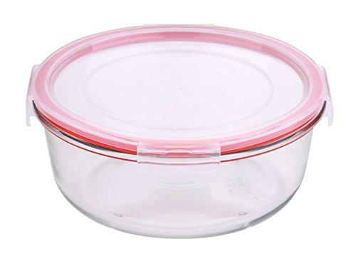 Tarro Con Tapa Cristal redondas Microondas Cuenco–Recipiente hermético Lunch Box (Caja de almuerzo, comida, 1,2litros, apto para lavavajillas)