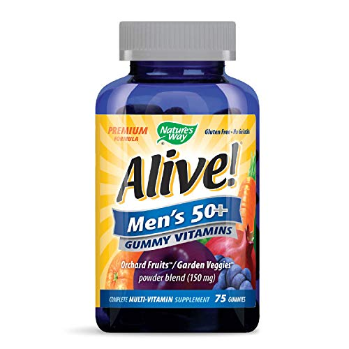 Natures Way Alive! - Mens 50+ Gummy Multi-Vitamins - 75 Chewables | RawWhey