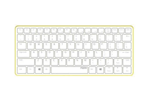 Rapoo E6350 ultraschlanke kabellose Bluetooth 3.0 Tastatur aus Aluminium (nur 4,9mm dünn, Multimedia, 2 Monate Akkulaufzeit, QWERTZ deutsches Layout) weiß-grün