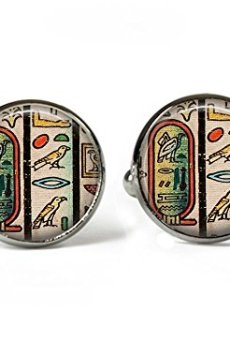 Antiguo Egipto Jeroglíficos–cuadro de cristal Gemelos–Bañado en Plata (BC3)