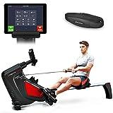 Sportstech RSX500 Máquina de Remo; Smartphone Control; App Deportiva; 12 programas de Remo + 4 Cardio; 16 Niveles de Resistencia; Modo competición; Pulsómetro de Pecho Incluido