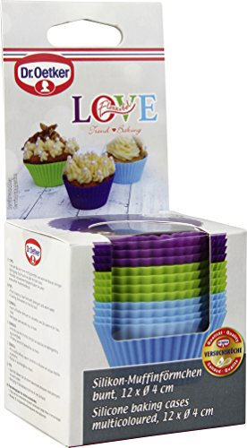 Dr-Oetker-Silikon-Muffinfrmchen-Silikonformen-fr-Muffins-und-Cupcakes-Frmchen-aus-hochwertigem-Platinsilikon-mit-Antihaft-Eigenschaften-Farbe-lila-grn-blau-splmaschinengeeignet-Menge-1-x-12er-Set
