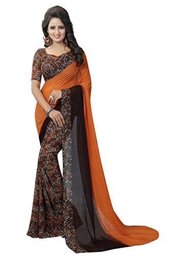 J B Fashion Women's with Blouse Piece Saree (H-saree for women-trump-ORANGE-1_Orange_Free Size)