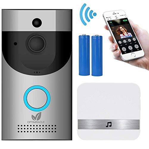 Citofono senza fili videocitofono smart campanello senza fili con batterie e suoneria WiFi 720P HD...