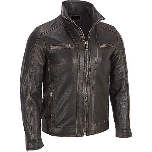 Superior Leather Garments, giacca con rivetto, da uomo, di colore nero, in vera pelle di mucca Black Medium-Per Person Di Petto 99 cm