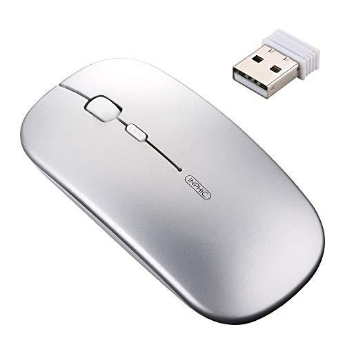 inphic Wiederaufladbare kabellose Maus, Mute Silent Click Mini Geräuschlose optische Mäuse, Ultra Thin 1600 DPI Funkmaus für Notebook, PC, Laptop, Computer, MacBook (Light Silber)