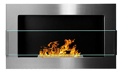 Bio Ethanol Fireplace Modern 650 x 400 Stainless steel with glass