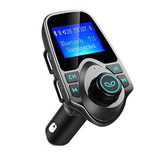 OMORC Bluetooth FM Transmitter Radio Adapter für IOS Android, Schwarz/Grau