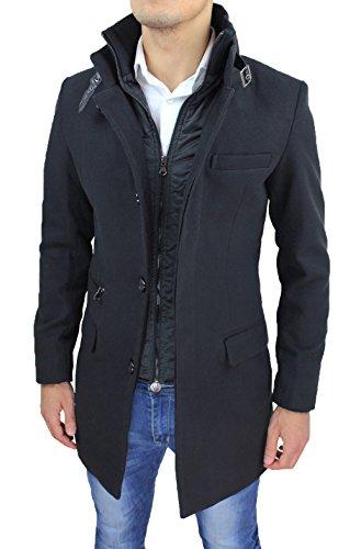 Cappotto Uomo Nero Sartoriale Casual Elegante Slim Fit Giaccone Soprabito Invernale con Gilet Interno (XL, Nero)