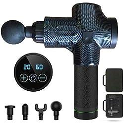 Faviye - Pistola de Masaje Muscular electrónica con Pantalla LCD de 4 Cabezas, 30 velocidades, Ayuda a Promover la circulación sanguínea