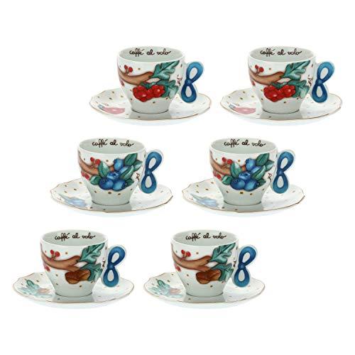 THUN - Set 6 Tazzine caffè - Accessori Cucina - Linea Chiaro di Luna - Porcellana - Tazzina 65 ml;...